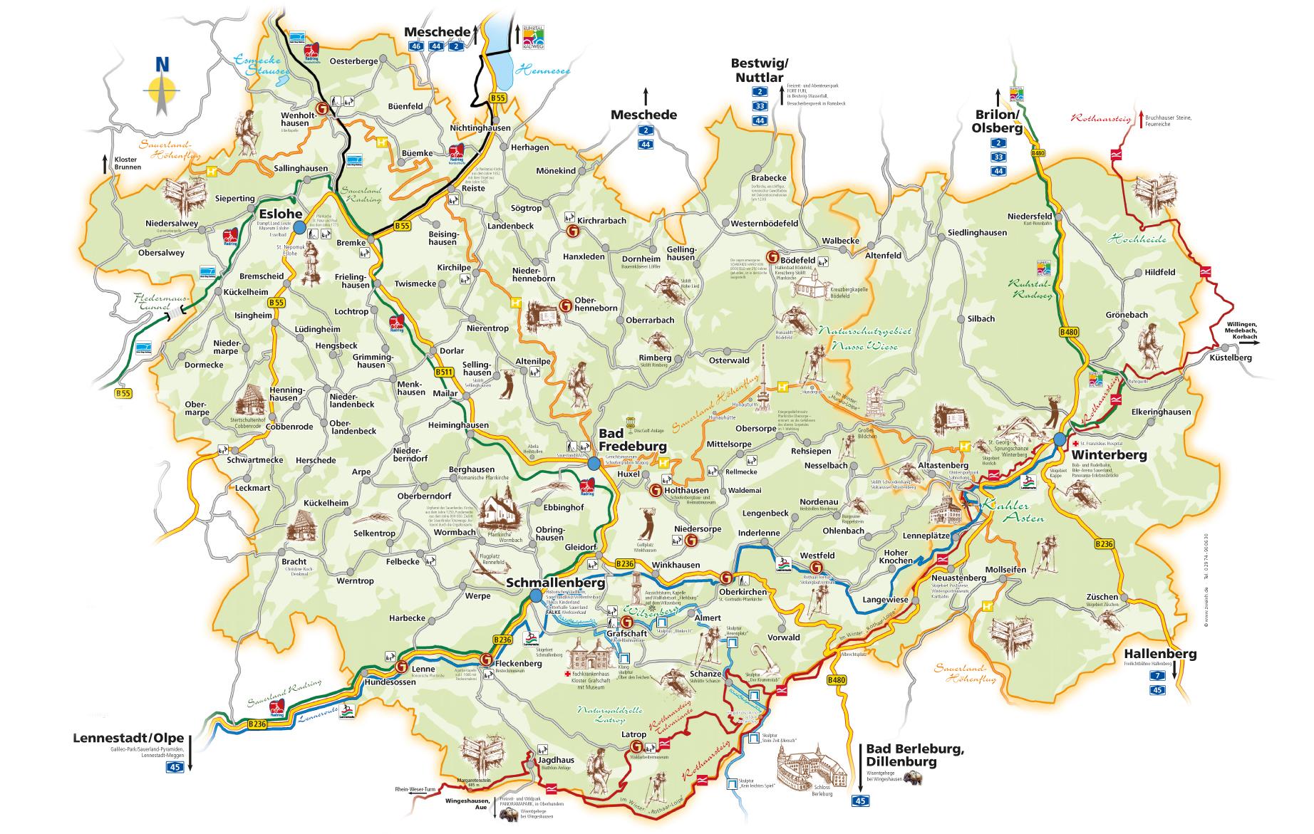 Sauerland Karte Berge.Anfahrt Parken